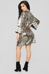 All Glammed Up Jersey Shirt Dress - Gold Angle 4