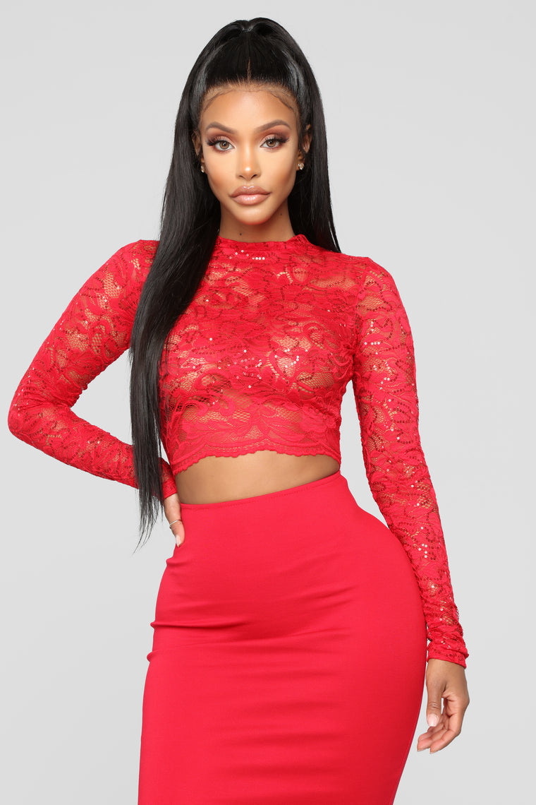 Loss For Words Lace Mini Dress - Red