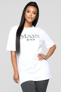 Main Bitch Tunic Top - White Angle 1
