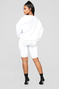 Feeling Myself Slinky Biker Shorts - White