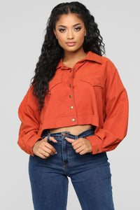 Had Me At Hello Cropped Jacket - Rust