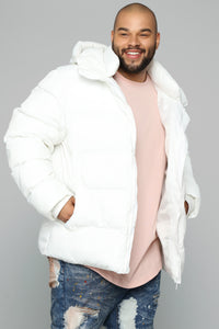 Classic Puffer Jacket - White Angle 1