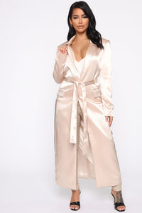 No Expectations Satin Duster - Nude