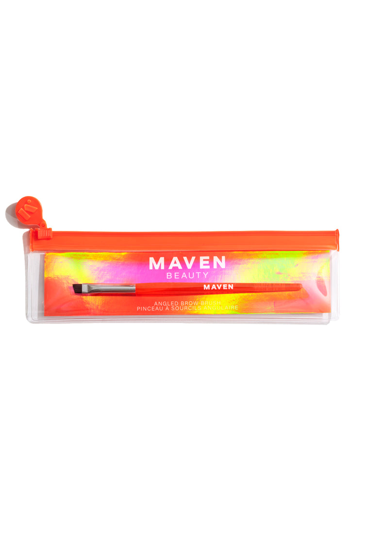Maven Pro Artistry Angled Brow Brush - Orange/Silver