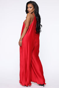 Just A Pleat Second Jumpsuit - Red