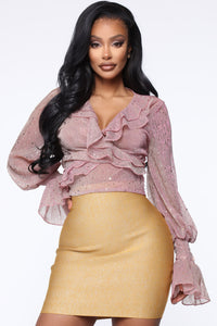 Sweet And Flirty Blouse - Mauve