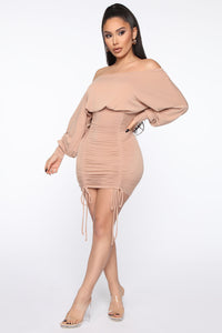 Keep It Ruched Mini Dress - Taupe Angle 4