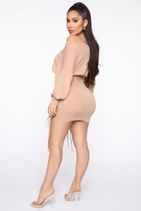 Keep It Ruched Mini Dress - Taupe Angle 5