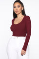 Goes With Everything Ribbed Bodysuit - Burgundy