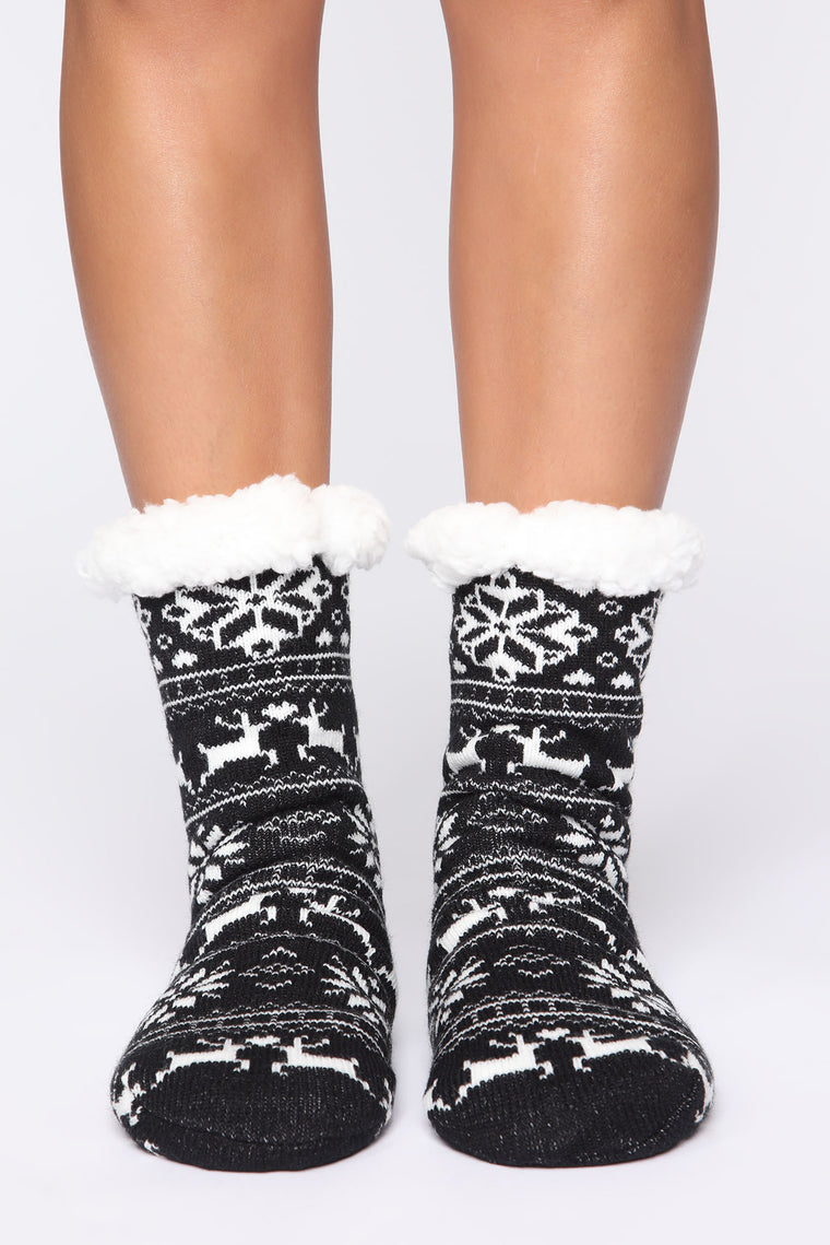 Be My Reindeer Socks - Black