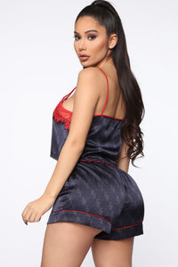 Hit FN Snooze Cami Satin PJ 3 Piece Set - Navy/Red