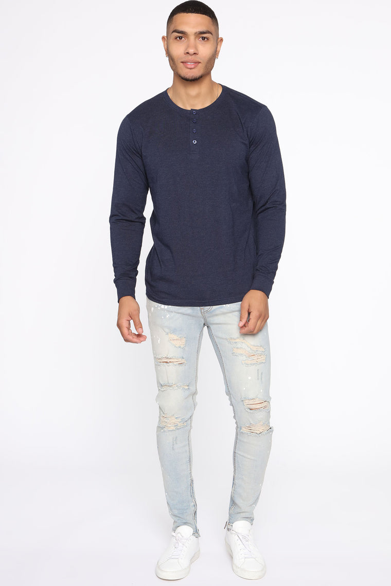 Essential Henley Long Sleeve Top   Navy by Fashion Nova