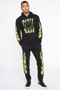 Happy Daze Hoodie -Black/Green