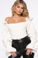 Cute Feels Off Shoulder Sweater - White