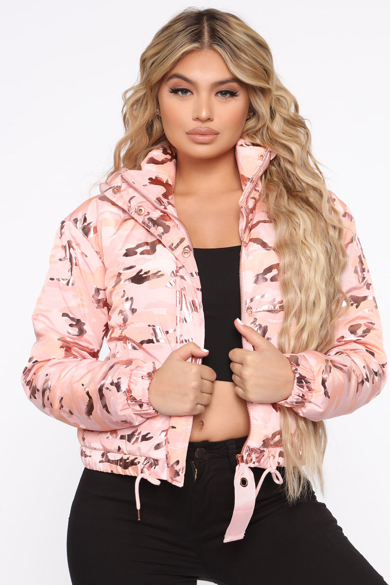 Just A Lil Flashy Puffer Jacket   Rose Gold by Fashion Nova