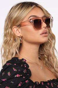 Keeping It On The Low Sunglasses - Pink Angle 2
