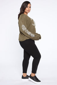 Just My Luck Long Sleeve Sweatshirt - Olive