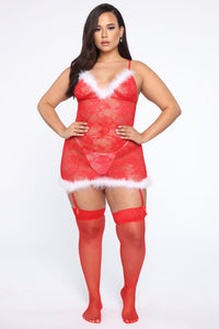 Nice List Lace Garter Chemise - Red