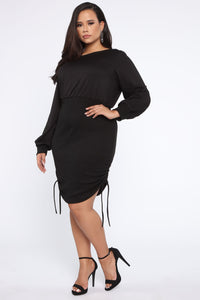 Always Darling Ruched Dress - Black Angle 4