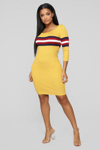 You're On The Right Track Sweater Dress - Mustard/Combo Angle 1