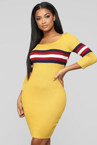 You're On The Right Track Sweater Dress - Mustard/Combo Angle 3