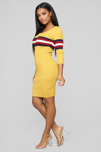 You're On The Right Track Sweater Dress - Mustard/Combo Angle 2