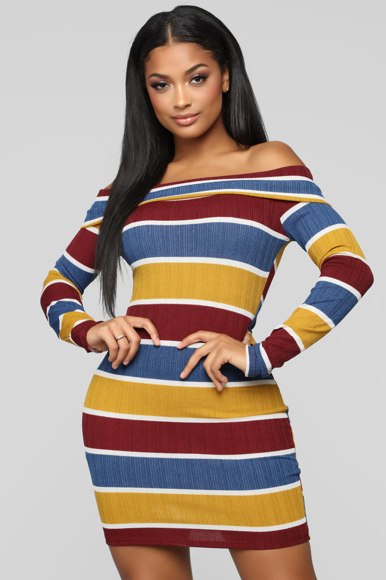 Don't Phase Me Sweater Dress - Mustard/Multi