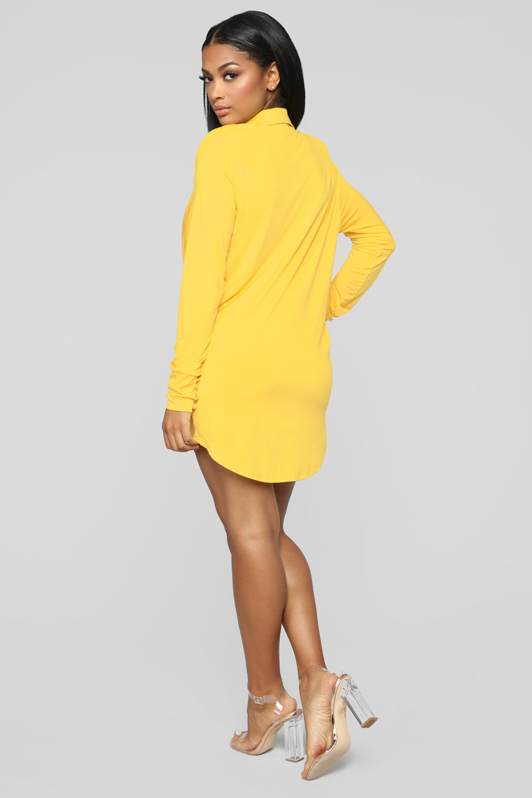 Slay The Night Cowl Neck Dress - Yellow