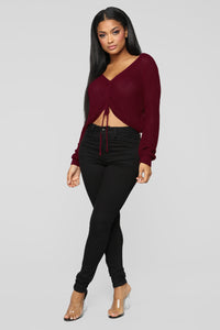Pull My Strings Sweater - Burgundy