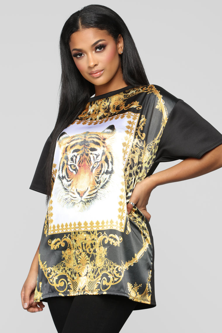 Tiger Tunic Top - Black/Gold