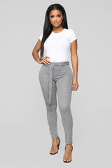 London Calling Belted Plaid Pants   Black by Fashion Nova