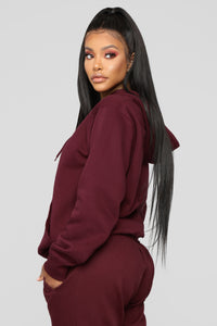 Stole Your Boyfriend's Oversized Hoodie - Burgundy