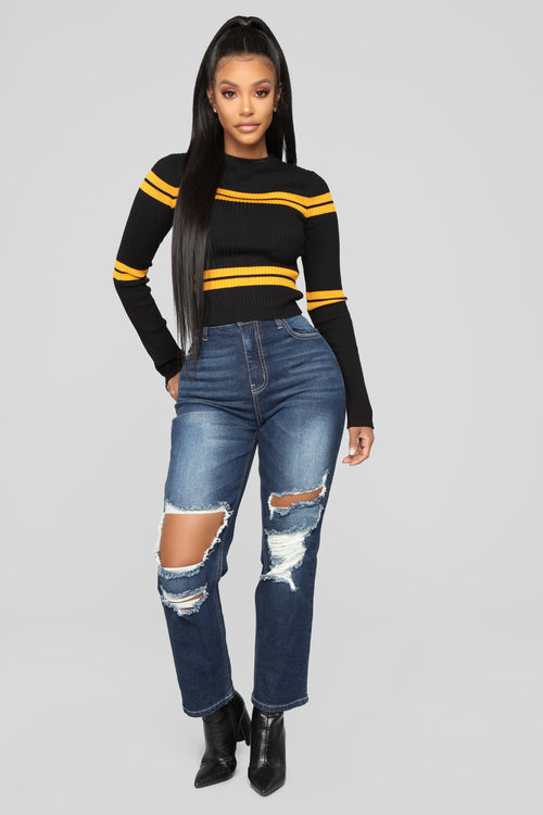 Mama Got Game High Rise Jeans - Dark Denim