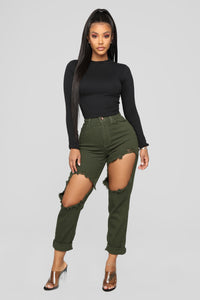 Time To Burn Distressed Boyfriend Jeans - Green