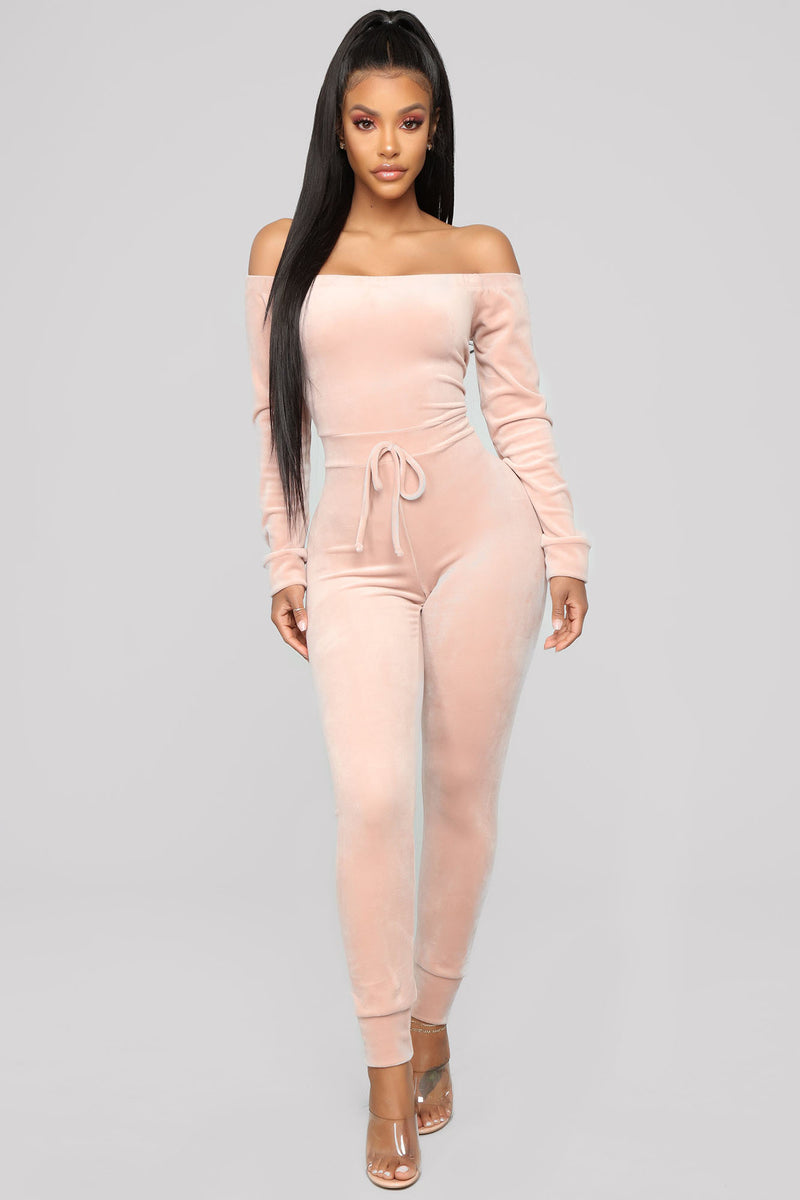 Need A Hug Velour Jumpsuit Pink Jumpsuits Fashion Nova