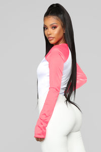 Feelin' Sporty Bodysuit - Neon Pink