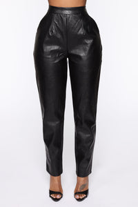 Counting Paper Faux Leather Pant - Black Angle 2