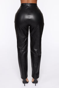 Counting Paper Faux Leather Pant - Black Angle 6