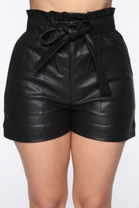 Lets Ride Pu Paperbag Shorts - Black Angle 1