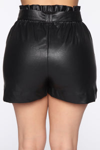Lets Ride Pu Paperbag Shorts - Black Angle 5
