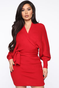 Alondra Sweater Skirt Set - Red