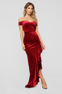 Bethanie Off Shoulder Maxi Dress - Ruby