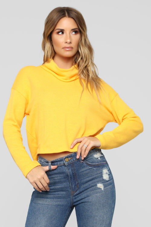 Well Behaved Turtle Neck Top - Yellow