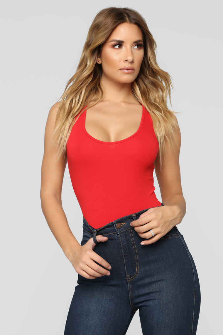 Davina Basic Tank Bodysuit - Red