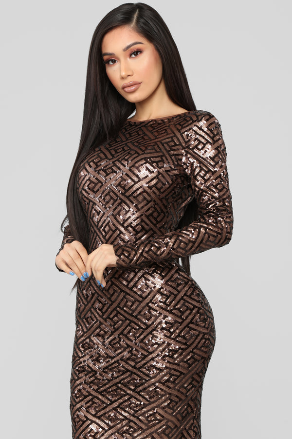 e402f47faf Forever Your Love Sequin Dress - Brown