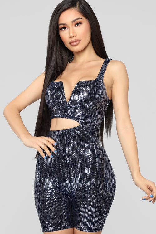 Cut To Disco Sequin Romper - Blue
