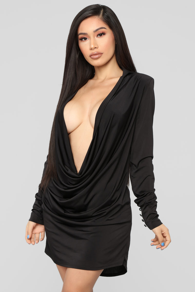 Slay The Night Cowl Neck Dress - Black