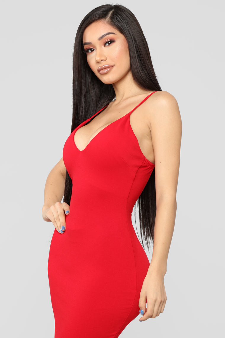 Playing The Game Midi Dress - Red