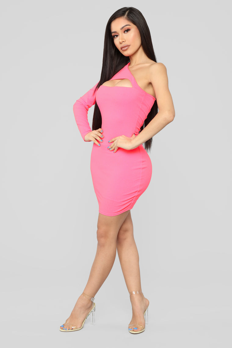Cut Him Off Mini Dress - Neon Pink