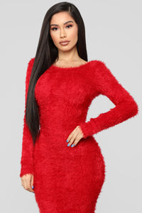 Everything's Fuzzy Maxi Dress - Red